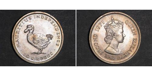 10 Рупия Маврикий  Елизавета II (1926-)