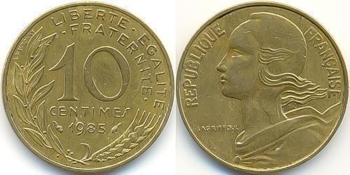 10 Сантим Пятая французская республика (1958 - ) Латунь
