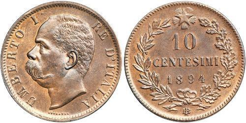 10 Сентесимо Kingdom of Italy (1861-1946) Медь Умберто I (1844-1900)