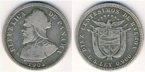 10 Сентесимо Республика Панама Серебро