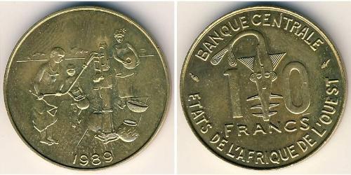10 Франк Африканский союз Латунь