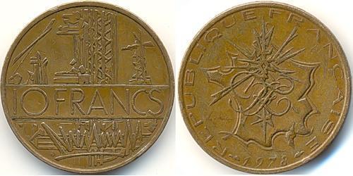 10 Франк Франция Латунь