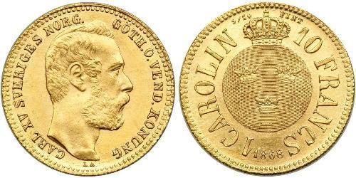 10 Франк / 1 Carolin Швеция Золото Оскар II (1829-1907)