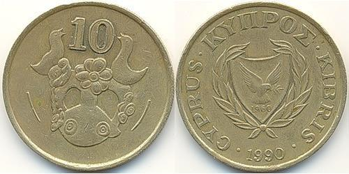 10 Цент Кипр (1960 - ) Никель/Латунь