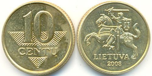 10 Цент Литва (1991 - ) Никель/Латунь