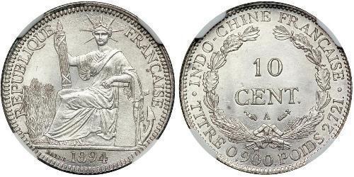 10 Цент Французский Индокитай (1887-1954) Серебро