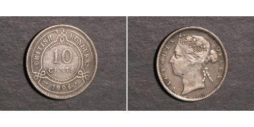 10 Цент Британский Гондурас (1862-1981) Срібло Вікторія (1819 - 1901)
