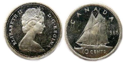 10 Цент Канада Срібло Єлизавета II (1926-)