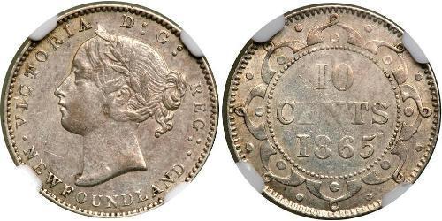 10 Цент Ньюфаундленд і Лабрадор Срібло Вікторія (1819 - 1901)