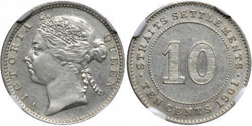 10 Цент Стрейтс-Сетлментс (1826 - 1946) Срібло Вікторія (1819 - 1901)