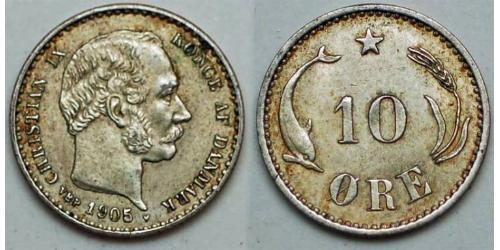 10 Эре Дания  Кристиан IX король Дании (1818-1906)