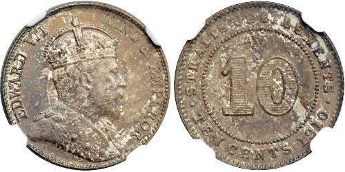 10 Cent Établissements des détroits (1826 - 1946) Argent Édouard VII (1841-1910)