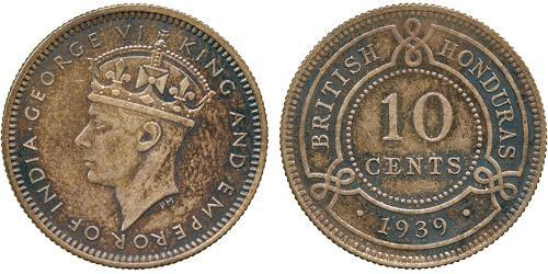 10 Cent British Honduras (1862-1981) Argent George VI (1895-1952)