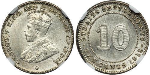 10 Cent Insediamenti dello Stretto (1826 - 1946) Argento Giorgio V (1865-1936)