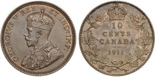 10 Cent Canadá Plata Jorge V (1865-1936)