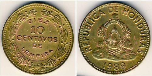 10 Centavo Honduras Ottone