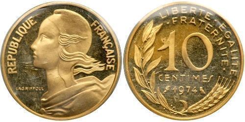 10 Centime Quinta República Francesa (1958 - ) Oro