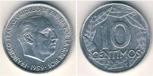 10 Centimo 佛朗哥时期 (1936 - 1975) 铝 弗朗西斯科·佛朗哥 (1892 – 1975)