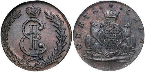 10 Copeca Impero russo (1720-1917) Rame Caterina II (1729-1796)