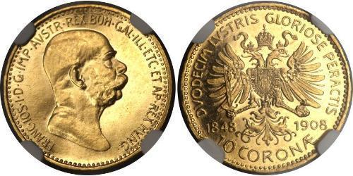 10 Corona Австро-Угорщина (1867-1918) Золото Франц Иосиф I (1830 - 1916)