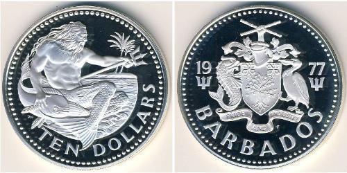 10 Dólar Barbados Plata