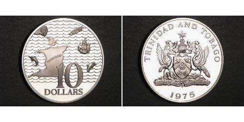 10 Dólar Trinidad y Tobago Plata