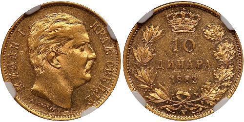 10 Denaro Serbia Oro Milan Obrenović IV di Serbia