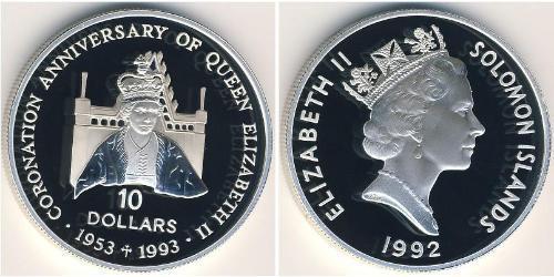 10 Dollar Salomon Argent Elizabeth II (1926-)