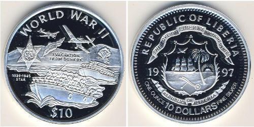 10 Dollar Liberia Silver