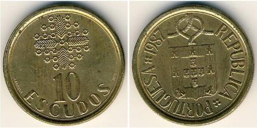 10 Escudo République portugaise (1975 - ) Laiton