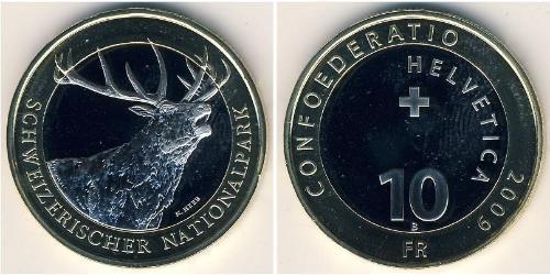 10 Franc Suiza Bimetal