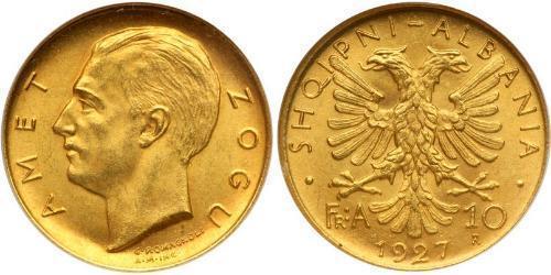 10 Franga Ari Albanien Gold Zog I, Skanderbeg III of Albania
