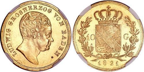 10 Gulden Grand Duchy of Baden (1806-1918) Gold Louis I, Grand Duke of Baden (1763 - 1830)