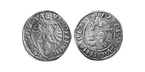 10 Kreuzer Augsburgo (1276 - 1803) Plata Carlos V, Emperador del Sacro Imperio Romano (1500-1558)
