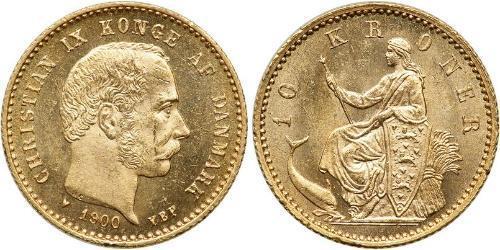 10 Krone 丹麦 金 克里斯蒂安九世 (1818-1906)