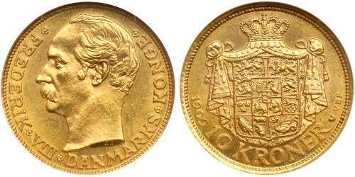 10 Krone 丹麦 金 弗雷德里克八世 (1843 - 1912)