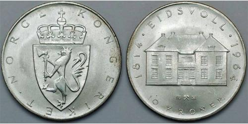 10 Krone 挪威 銀 奥拉夫五世 (1903 - 1991)