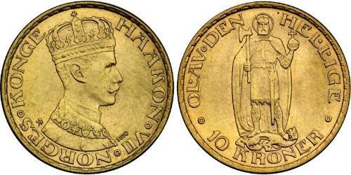 10 Krone Norway Gold Haakon VII of Norway (1872 - 1957)