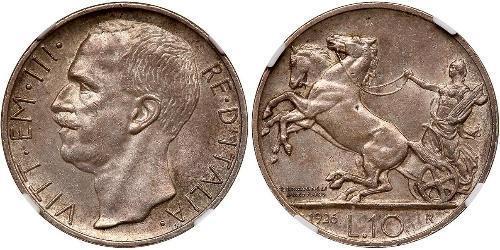 10 Lira Kingdom of Italy (1861-1946) Argento Vittorio Emanuele III d