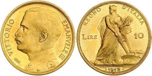 10 Lira Kingdom of Italy (1861-1946) Gold Victor Emmanuel III of Italy (1869 - 1947)