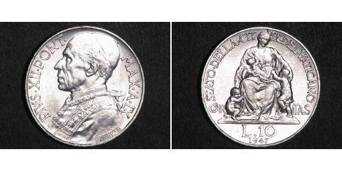 10 Lira Vatican (1926-) Silver Pope Pius XII  (1876 - 1958)