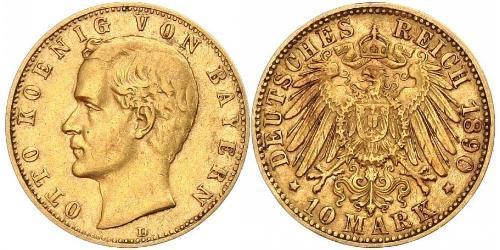 10 Mark 巴伐利亞王國 (1806 - 1918) 金 奥托 (巴伐利亚国王)