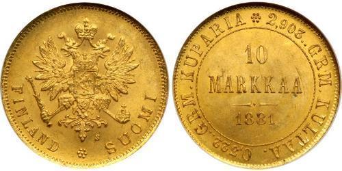10 Mark Finnland (1917 - ) / Russisches Reich (1720-1917) Gold Alejandro III (1845 -1894)