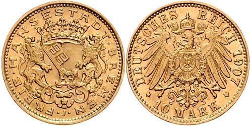 10 Mark Freie Hansestadt Bremen Gold