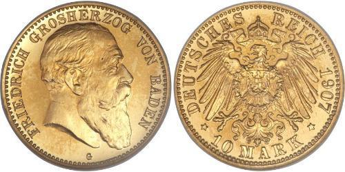 10 Mark Grand Duchy of Baden (1806-1918) Gold Friedrich I. (Baden, Großherzog) (1826 - 1907)