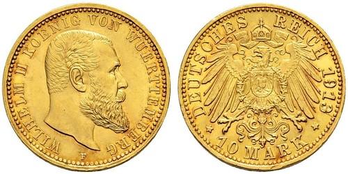 10 Mark States of Germany Gold Wilhelm II, German Emperor (1859-1941)
