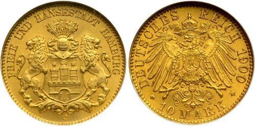 10 Mark Amburgo Oro