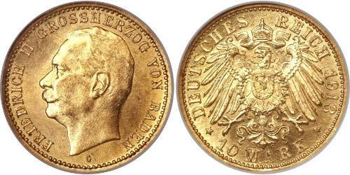 10 Mark Gran Ducado de Baden (1806-1918) Oro Federico II de Baden (1857 - 1928)