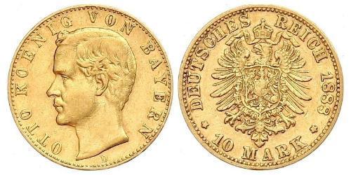 10 Mark Regno di Baviera (1806 - 1918) Oro Ottone di Baviera(1848 – 1916)