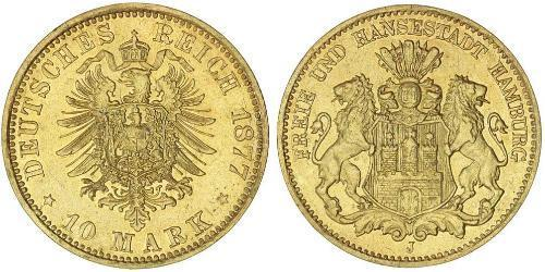 10 Mark Stati federali della Germania Oro